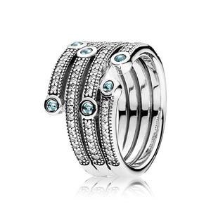 BaoFu новое кольцо из стерлингового серебра 925 пробы, классическое очаровательное синее украшение, покрытое женскими обручальные кольца в под...