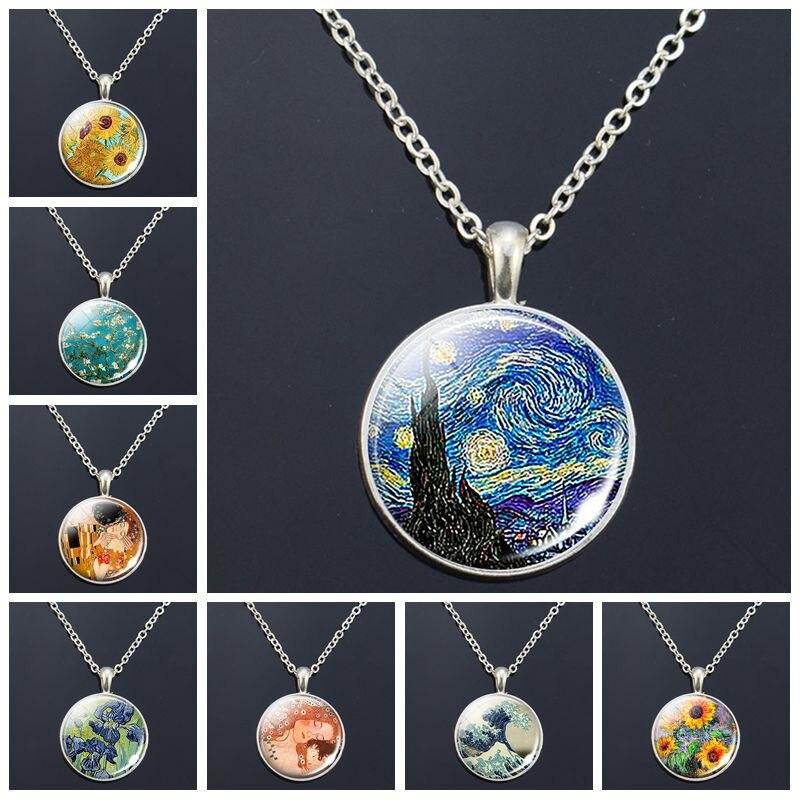 Van Gogh Halskette Van Gogh der Kunst Malerei Druck Glas Cabochon Anhänger Kette Halskette Mode Schmuck Halsketten für Frauen Männer