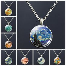 Van Gogh Necklace Goghs Art Painting Print Glass Cabochon Pendant Chain Fashion Jewelry Necklaces for Women Men