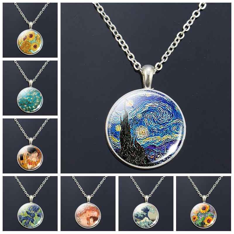 Van Gogh naszyjnik Van gogha sztuka malarstwo druk wisiorek ze szklanym kaboszonem łańcuch naszyjnik moda biżuteria naszyjniki dla kobiet mężczyzn