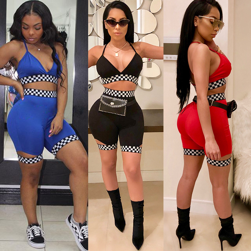 2020 Summer fashion Bodycon Sexy Two Piece Set Backless Sleeveless Crop Top Shorts Patchwork Sport 2 Piece Set Women Tracksuit