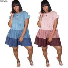 CM.YAYA Femmes Patchwork O-cou Cascade de Volants Lâche A-ligne Denim À Manches Courtes Mini Robe Classique Robe Streetwear