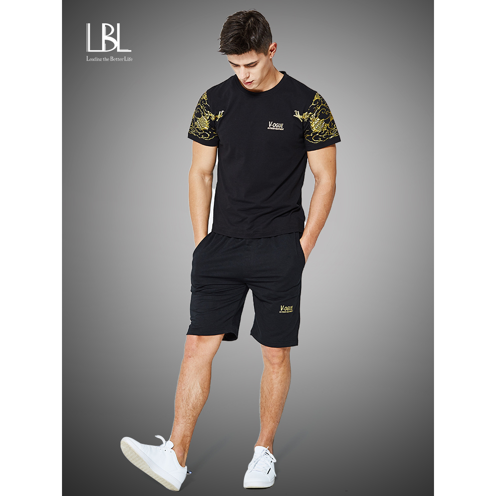 2020 Summer Tracksuit Mens Causal Two Pieces Suit Short Sleeve T-shirt + Shorts Fashion Male Wear Set Man Tshirts Homm Brand Top