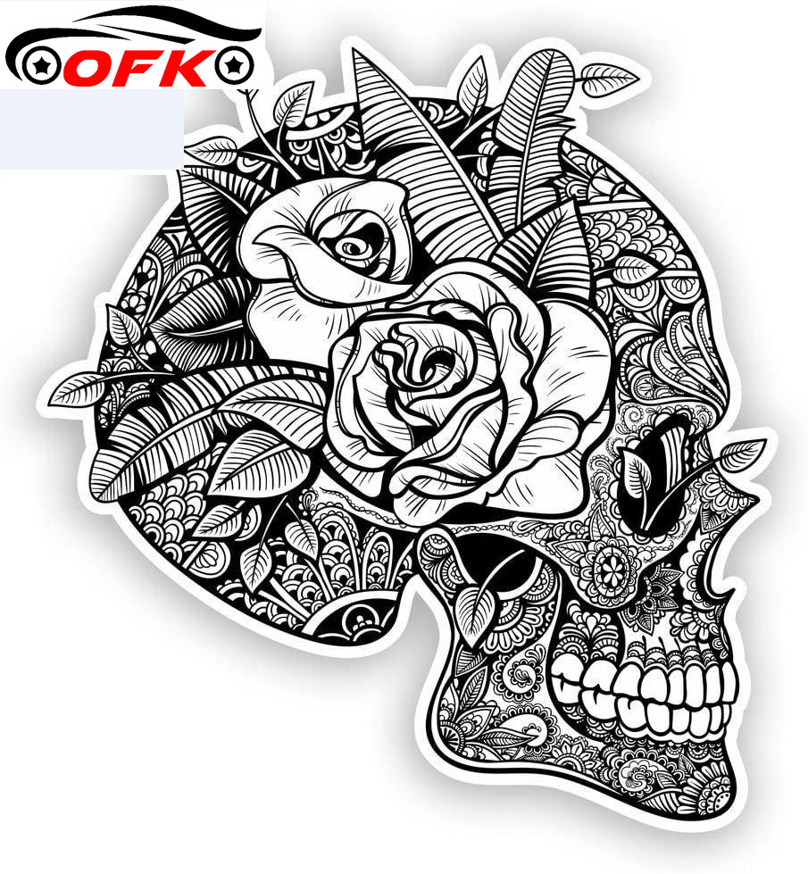 Skull Car Stickers Mexico Festival Day of The Dead Decal Waterproof Auto Motorcycle Accessories Vinyl,15cm*15cm