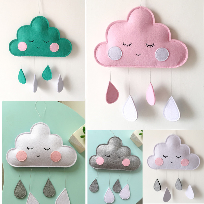 INS Newborn Baby Bedroom Decor Hanging Toys Clouds Newborn Hanging Ornaments Crib Bumper Kids Room Decoration Water Droplet