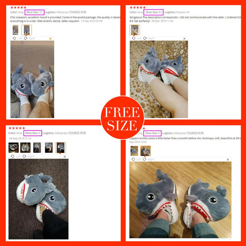 Winter Super Animal Funny Shoes For Men and Women Warm Soft Bottom Home&House Indoor Floor Shark Shape Furry Slippers Shallows 2