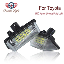 2Pcs 18-SMD Car LED Xenon License Plate Light For Toyota Crown corolla camry aurion car license light auto accessory lighting