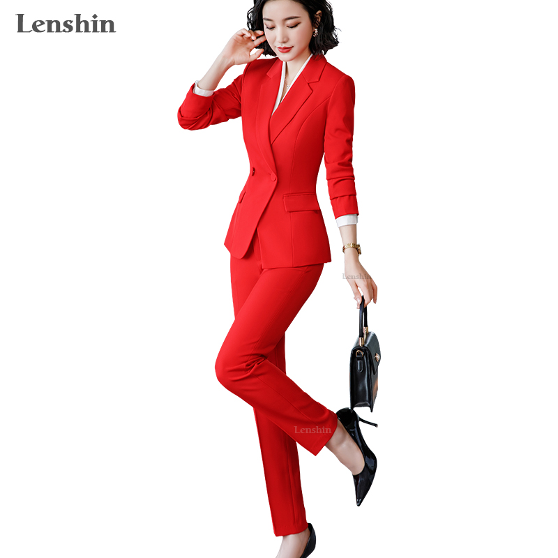 Lenshin 2 Piece Set Simple Formal Pant Suit Blazer With Pockets Office Lady Designs Women Single Breasted Jacket And Pant