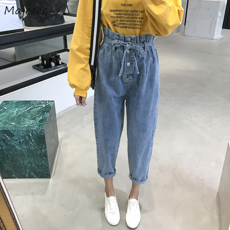 Jeans Women Simple Button Flay Denim Solid Kawaii Bow Sashes Long Student Lovely All-match Casual Daily Womens Trousers Females