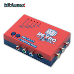 Bitfunx A/V محول وخط مضاعف إلى الوراء إشارة 2x 480p60 لوحدة تحكم لعبة فيديو الرجعية PS2/N64/SEGA Dreamcast/Atari2600