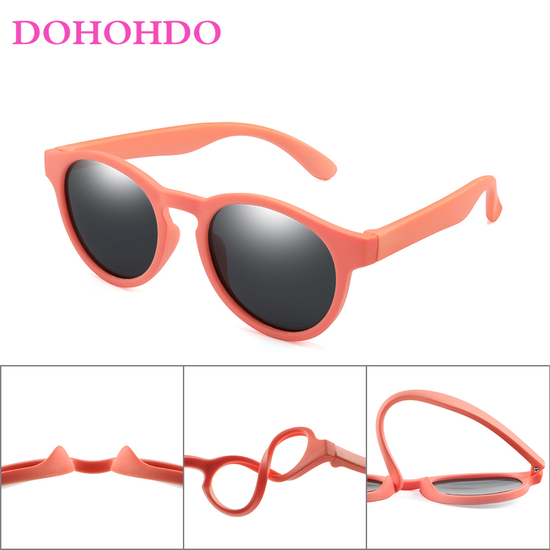 DOHOHDO Colorful Flexible Kids Sunglasses Polarized Boys Girls Round Sun Glasses Child Baby Eyewear Silicone Eyeglasses UV400