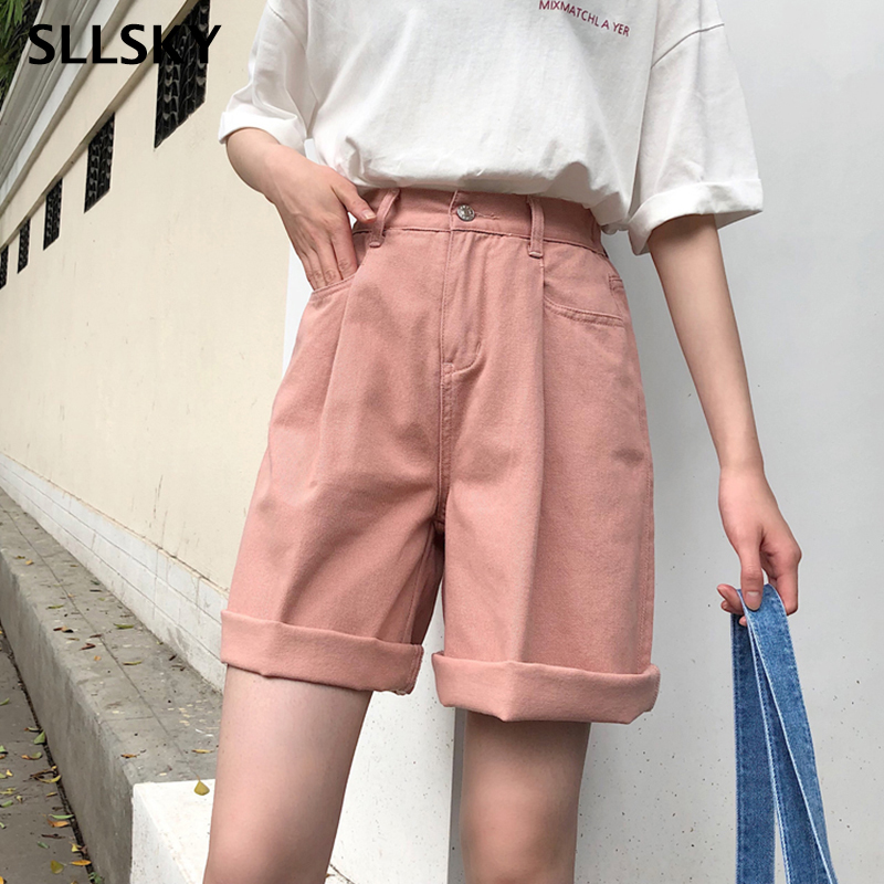SLLSKY Shorts Women Solid Color High Wide Leg Trendy Harajuku Clothes Womens Summer Elastic Girl Simple All-match Shorts