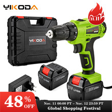 YIKODA 21V Electric Drill Lithium Battery DIY Mini Rechargeable Double Speed Cordless Screwdriver Household Power Tools