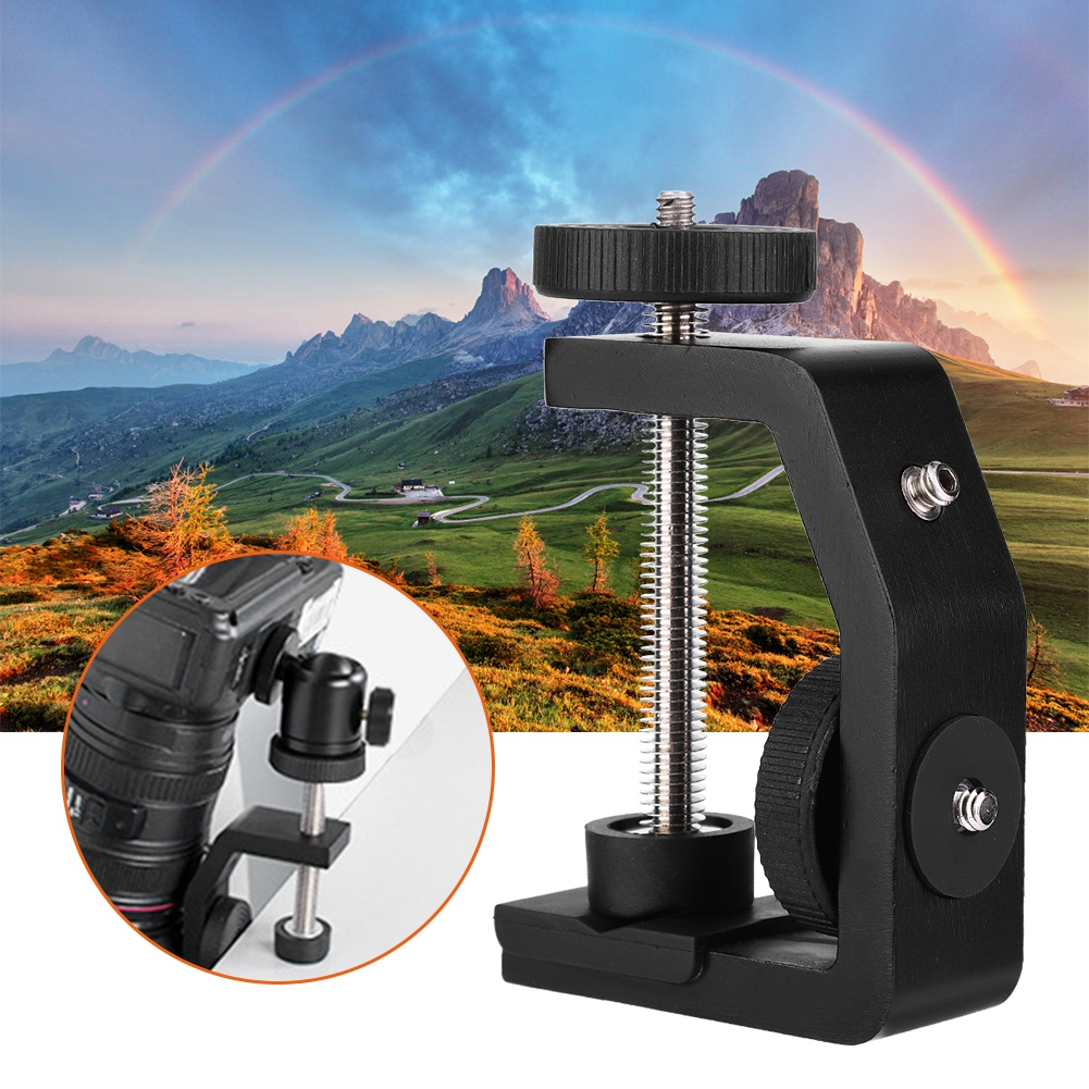 Universal Aluminum C-Type 1/4 Inch Desktop Mount Clip Clamp Stand for Camera Tripod Ball Head