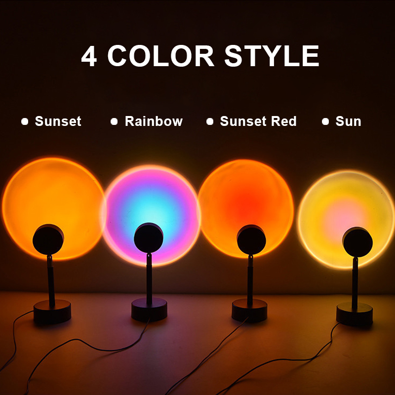Sunset Projection Night Lights Live Broadcast Background Like Galaxy Projector Atmosphere Rainbow Lamp Decoration For Bedroom 3