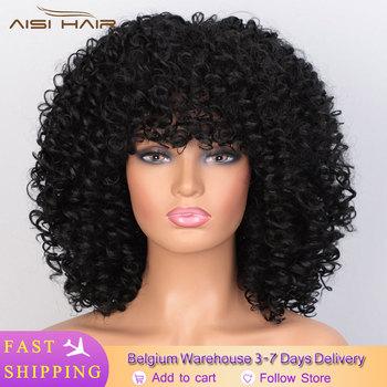 Jestem peruką krótkie peruki syntetyczne Afro peruka z kręconych włosów typu Kinky dla kobiet 10 kolorów dostępne czarne naturalne włosy Afro wysokiej temperatury tanie i dobre opinie I s a wig Wysokiej Temperatury Włókna Perwersyjne kręcone 1 sztuka tylko Średnia wielkość