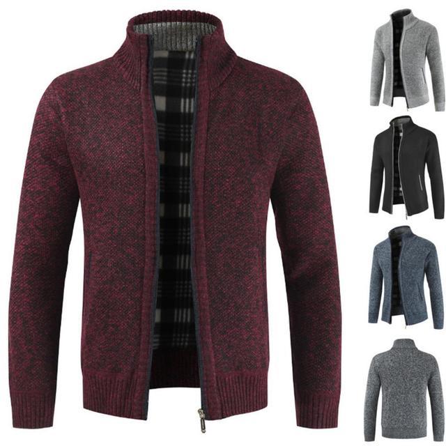 Men's Sweaters Autumn Winter Warm Knitted Sweaters Men Knitted Sweater Pockets Plush Liner Warm Slim Cardigan Coat 1