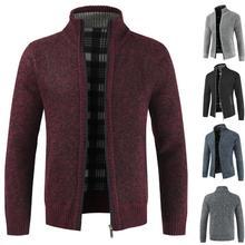 Men's Sweaters Autumn Winter Warm Knitted Sweaters Men Knitted Sweater Pockets Plush Liner Warm Slim Cardigan Coat