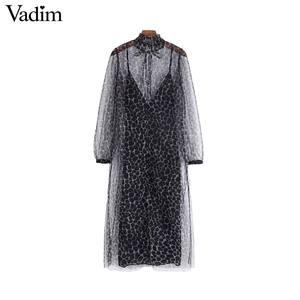 Image 2 - Vadim women two piece set leopard print dress see through long sleeve female elegant animal pattern dresses vestidos QC928