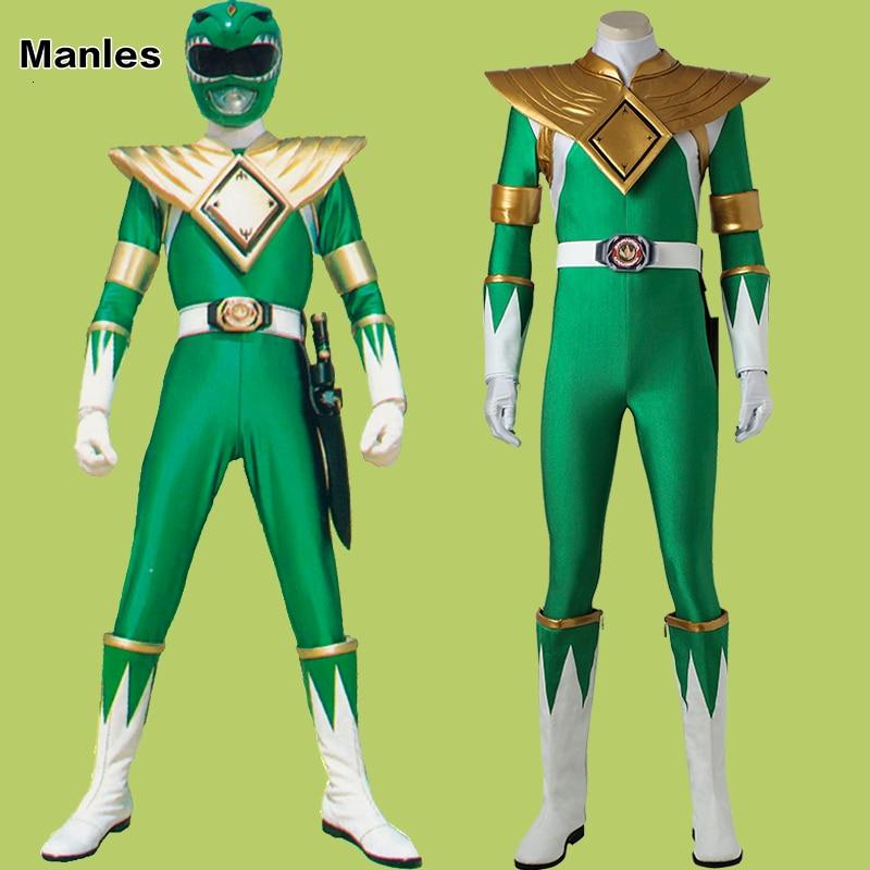 Dragon Ranger Burai Costume Green Ranger Zyuranger Jumpsuit Onesies Cosplay Halloween Adult Zentai Custom Armor Holster Boots