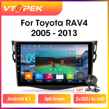 Vtopek 9 4G+WiFi Android 9.0 Car Radio Multimidia Video Player Navigation GPS For Toyota RAV4 Rav 4 2005-2013 Head Unit 2 din автомобильный dvd плеер joyous kd 7 800 480 2 din 4 4 gps navi toyota rav4 4 4 dvd dual core rds wifi 3g