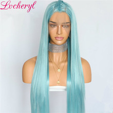 Lvcheryl Light Blue Color silky Straight Synthetic Lace Front Wig Hand Tied Heat Resistant Hair Wigs for Women(China)