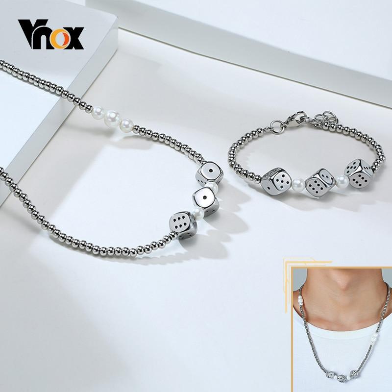 Vnox elegante collana con ciondolo a forma di dadi per uomo ciondolo a tubo in acciaio inossidabile con conchiglia perline girocollo Punk Trendy Street Jewelry