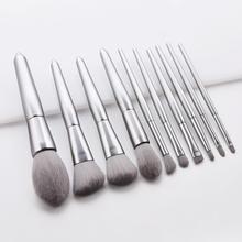 Premium Beautiful Eye shadow makeup brushes set 10Pcs brush tools for loose powder blush silver color soft nylon hair 10sets/lot
