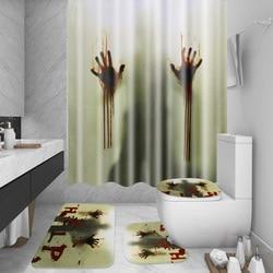 4 pçs 180x180cm banho cortina à prova dwaterproof água assustador sangrento chuveiro de mão cortina halloween + tapete 12 ganchos casa decoração do banheiro