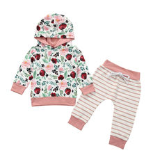 2Pcs Cotton Floral Toddler Baby Kids Girls Outfits Set Long Sleeve Hooded Top+Striped Trousers Outfits Little Baby Girls Clothes toddler kids pajamas long sleeve red set baby boys girls striped outfits christmas baby sleepwear set