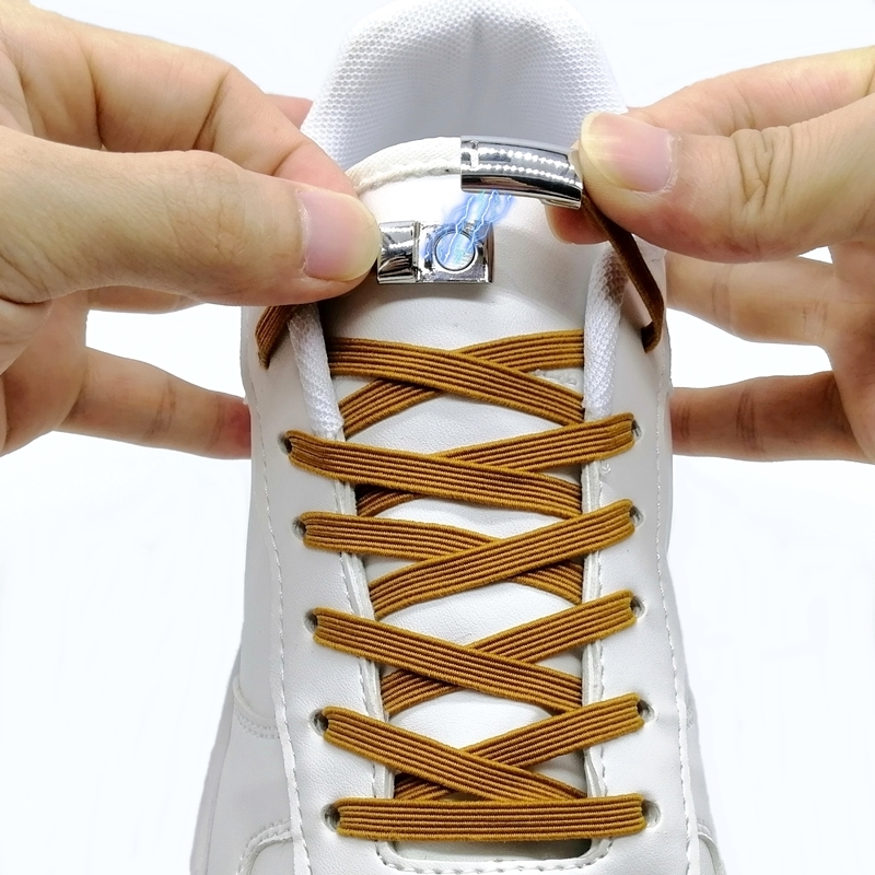 1Pair Funny Magnetic Locking Shoelaces Quick No Tie Elastic Shoe Laces