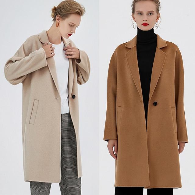 Bequeme Lange Herbst Winter Mantel Frauen Wolle mischungen Mantel Mode Schlank Braun/Beige Farbe Kaschmir Mädchen Woolen Stoff Mäntel