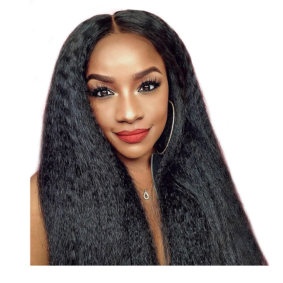 Kinky Straight 13×6 Lace Frontal Human Hair Wig Mongolian Kinky Straight Human Hair Wig Glueless Pre Plucked Remy For Women