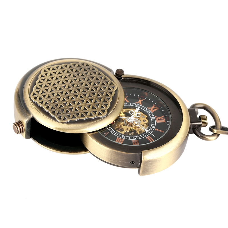 Retro Antique Hollow Cover Unique Double Turntable Capping Hand-Winding Mechanical Pocket Watch Men Steampunk Bronze 30cm Chain