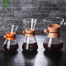 Hohe-Temperatur Beständig Glas Anti-Verbrühen Holz Griff Kaffee Maker Kaffee Topf Mit Edelstahl Filter V60 Kaffee maschine