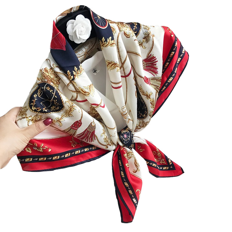 YHFJ9090OHS New Fashion Generous Spring and Autumn Winter Accessories 100% Silk Shawl Women Scarf image