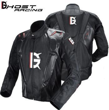 GHOST RACING Motorcycle Jacket Men Motocross Racing Riding Jacket PU Leather Motorbike Moto Jacket 7pcs Protector Body Armor