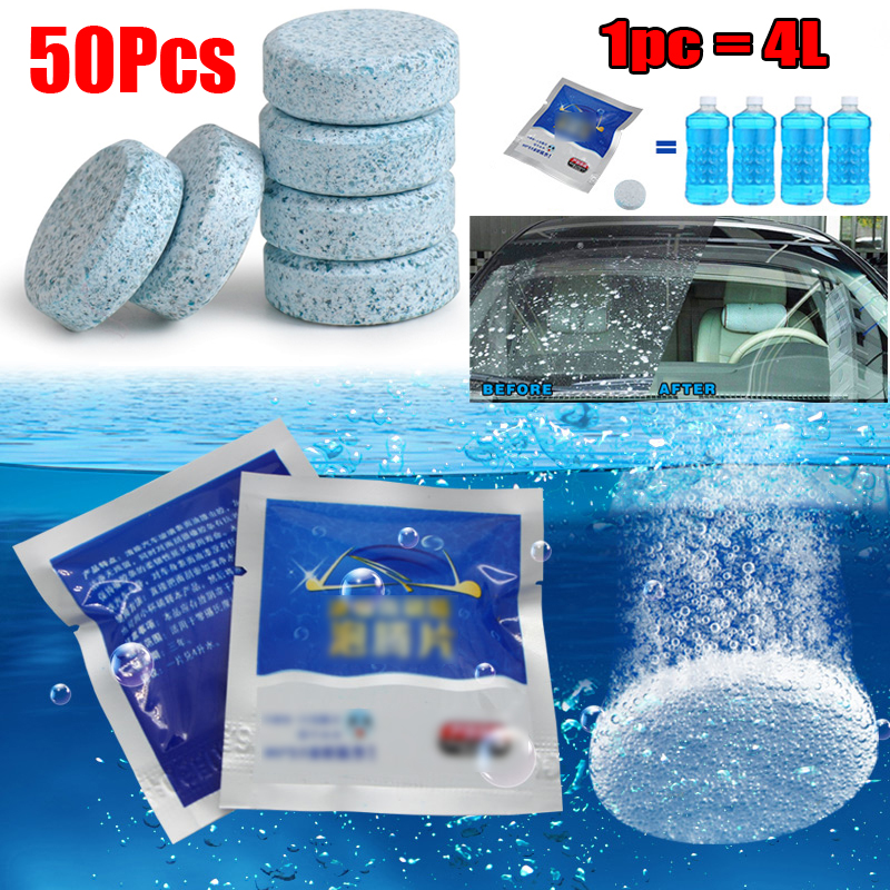 50pcs Car Screenwash Tablets Windscreen Cleaner Effervescent Washer Truck Van Wiper Fine Effervescent Tablets