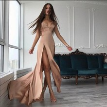 A Line V Neck Sexy Prom Dresses Nude Champagne High Side Sli