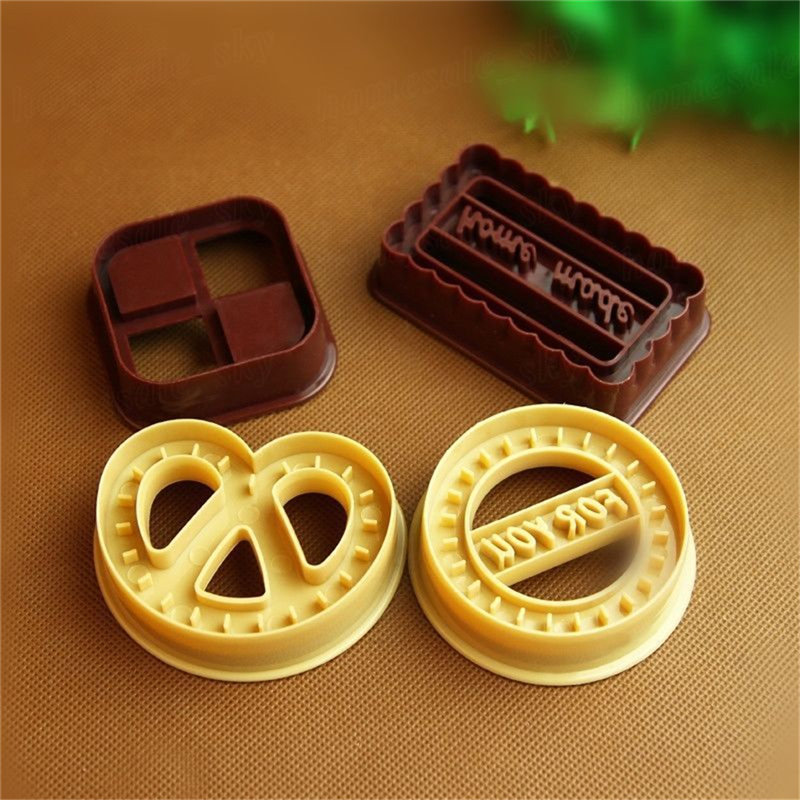 4Pcs Square Round Cookie Biscuit Cutter Set Bread Fondant Cake Mold Baking Tool Four Shape Cookie Mold Danish Cookie Cutter