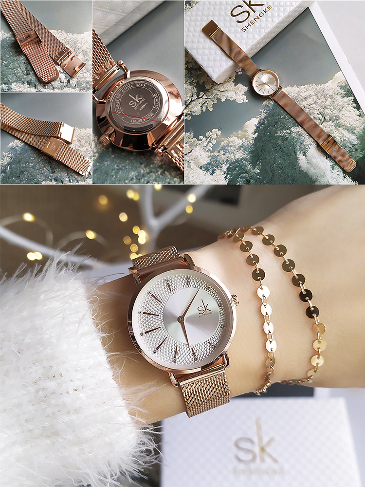 Women Watches Quartz Creative Reloj Rosegold Shengke Luxury Mesh-Band Feminino Mujer