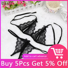 Women Wire Free Sexy Lingerie Lace Bralette Bra And Panty Set Femme Crop Top G-string Transparent Brassiere Party Lingerie(China)