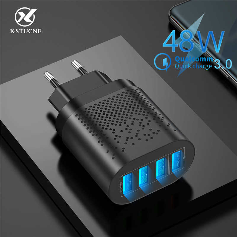 KSTUCNE 48W 4 Port LED Pengisian Cepat 3.0 USB Charger Cepat Pengisian Charger Dinding USB untuk Samsung Xiaomi Mobile charger Telepon