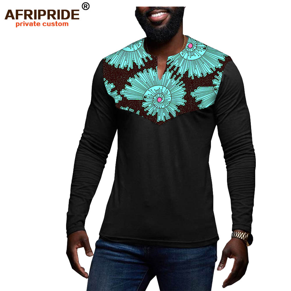 2019 <font><b>African</b></font> <font><b>men</b></font> clothing dashiki tops <font><b>shirts</b></font> print <font><b>wax</b></font> outfit traditional blouse bazin riche plus size wear AFRIPRIDE A1912004 image