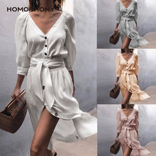 Homophony Shirt Dress V-Neck Elegant Office Ladies Autumn Casual Lantern Long Sleeve Fashion Side Split Women Dresses Vestidos