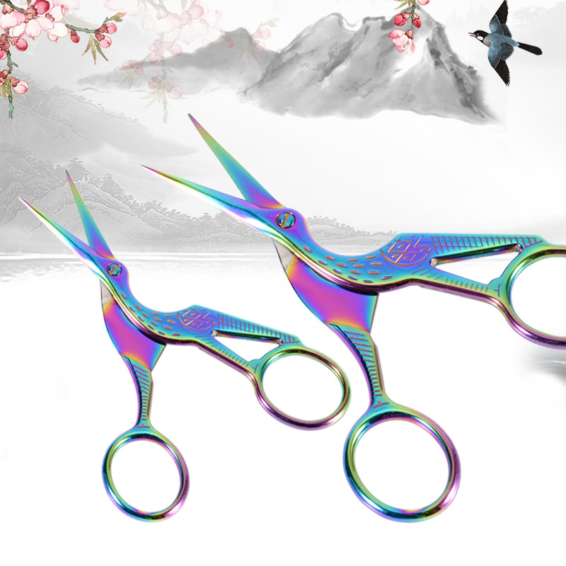Creative Crane Design Student Safe Scissors Paper Cutting Art Office School Supply With Stationery DIY Tool