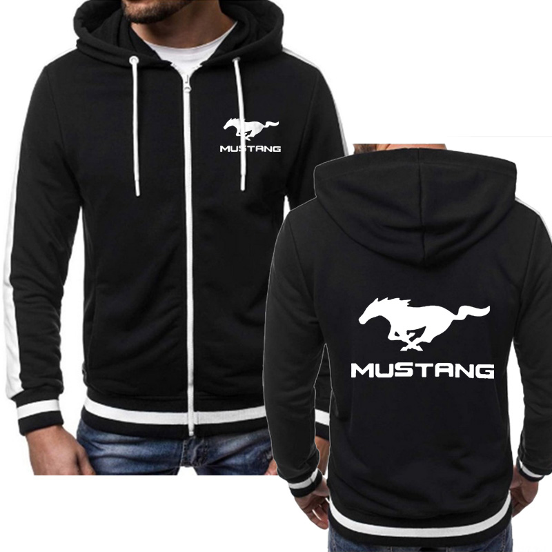 Hoodies Men Mustang Car Logo Sweatshirt Hoody Spring Autumn Fleece Cotton Zipper Jacket Fashion  HipHop Harajuku Male Clothing