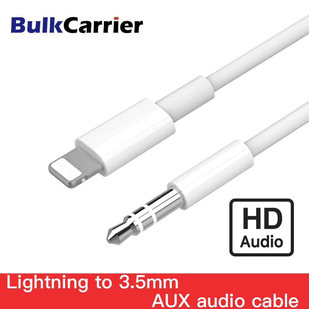 For Lightning To AUX Cable Car Converter 3.5mm Jack Male Cable Headphone Aux Line Earphone Audio Adapter For IPhone For IPad
