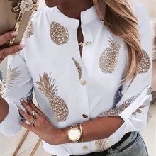 Women Blouse Sexy Long Sleeve Shirt VNeck Pineapple Print Top Streetwear Club Party Femme Buttons Tops Autumn