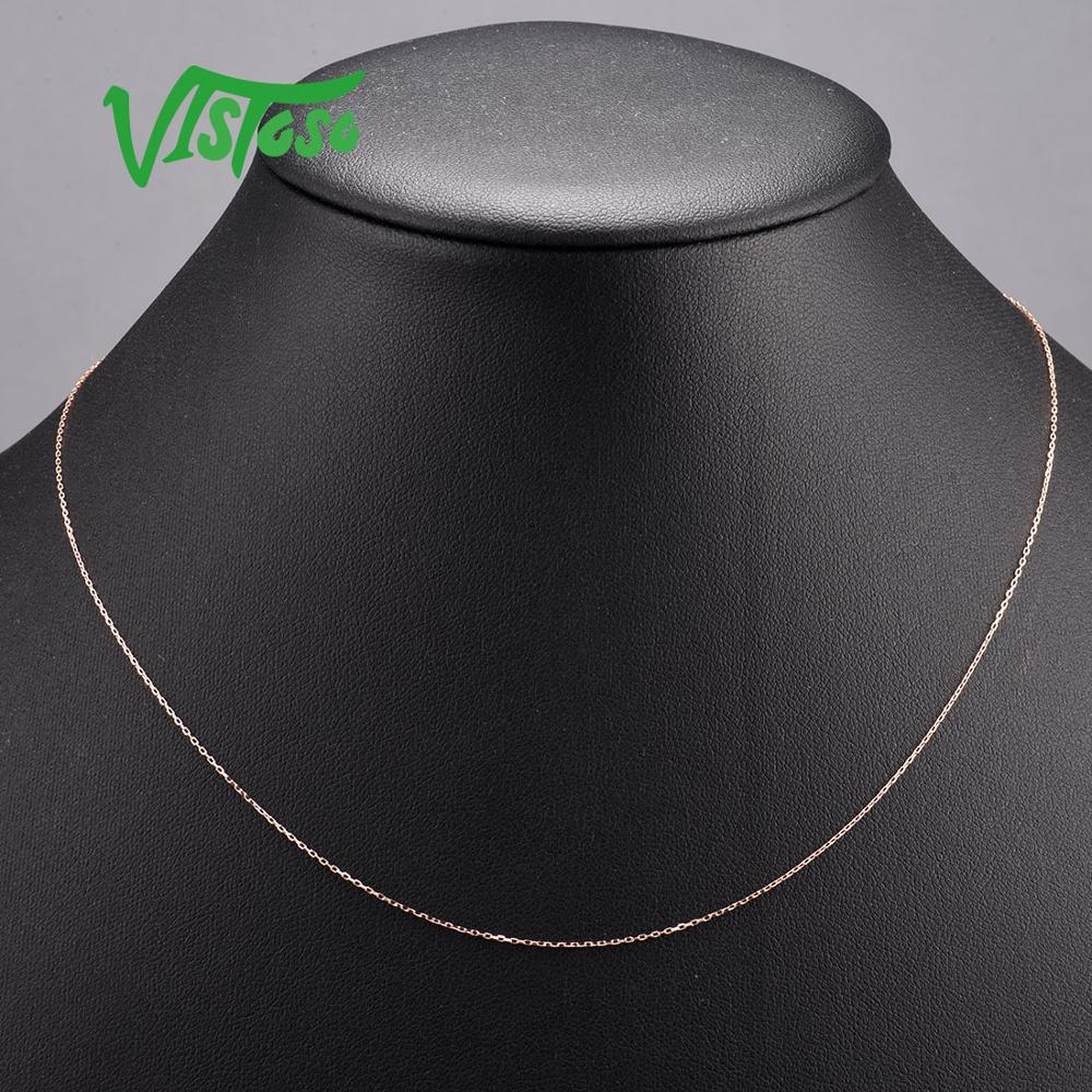 VISTOSO Gold Necklace For Women Genuine 14K 585 Rose Gold Necklace Chain 42cm Fine Jewelry